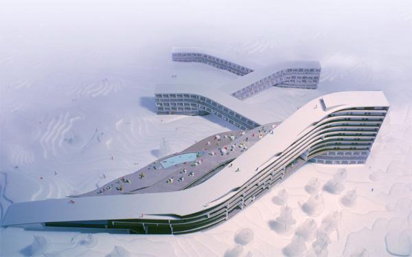 Mountain-skiing hotel on slope Hafjell, Norway